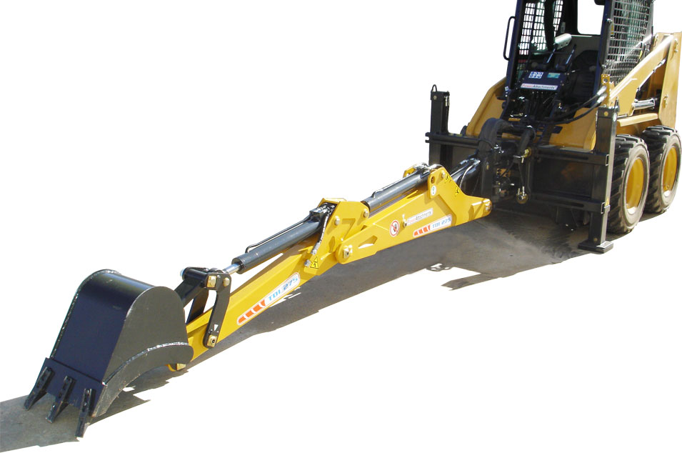PowerAttachments backhoe with caterpillar skid steer loader